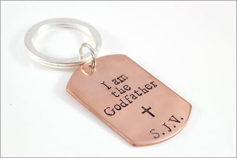I am the Godfather Copper Keychain with Initials | Personalized Gift for Godfather | Baptism Gift
