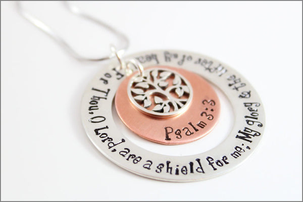 Custom Bible Quote Necklace with Tree of Life Charm Psalm 3:3 | Sterling Silver and Copper Christian Jewelry