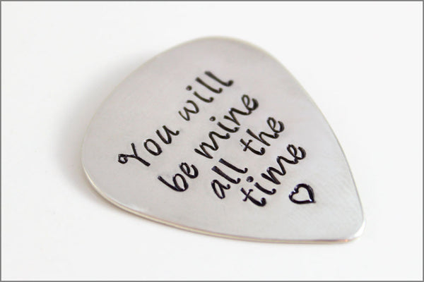 Gift for Music Lover with Custom Quote or Names | Custom Guitar Pick in Sterling Silver