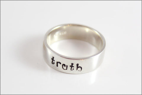 Custom Quote or Words Ring | Sterling Silver Hand Stamped Ring