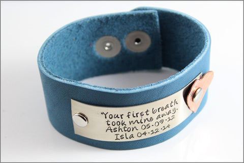 Customized Leather Bracelet with Your Names | Your First Breath Took Mine Away | Hand Stamped Bracelet