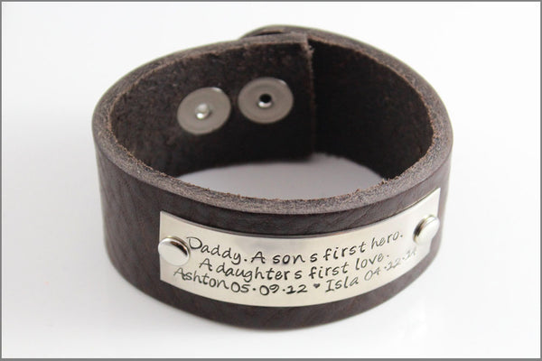 Customized Leather Bracelet | Daddy, A Son's First Hero, A Daughter's First Love