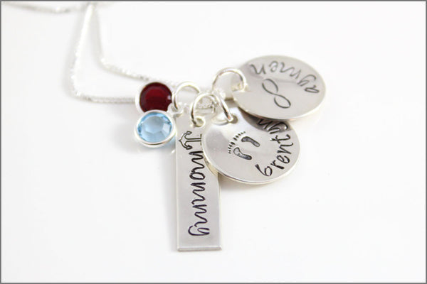 3 Name Necklace in Sterling Silver with Swarovski Crystal Birthstones | Custom Mommy Necklace with Names & Design Stamps