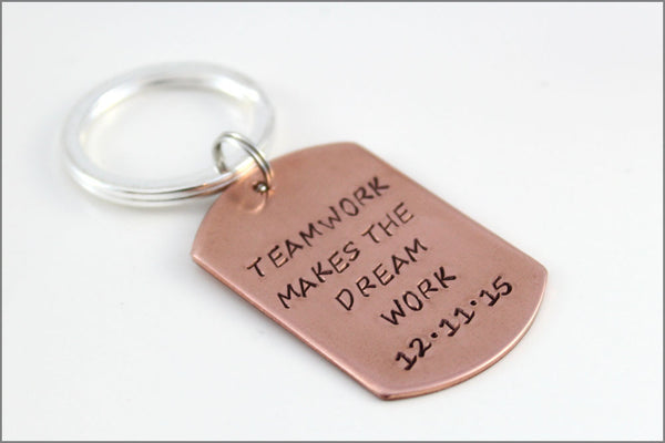 Teamwork Makes the Dream Work Copper Dog Tag Key Chain | Personalized Hand Stamped Accessories