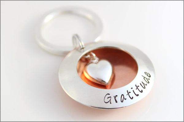 Mixed Metal Gratitude Keychain | Sterling Silver & Copper Locket, Puffy Heart Charm, Custom Message Key Chain