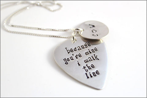 Music Lovers Couples Jewelry Guitar Pick Necklace | I Walk the Line Guitar Pick with Initials Charm