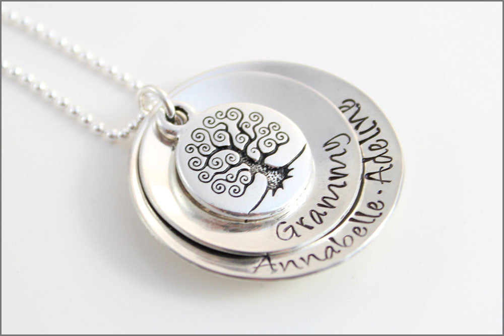 Personalized Gifts for Grandma | Custom Grandma Necklace, Personalized Silver Necklace, Antique Tree of Life, Stacked Necklace with Names