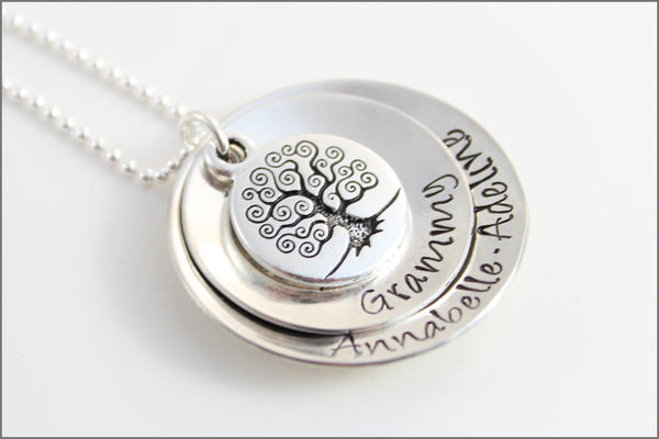 Gift for Grandma, Custom Grandma Necklace, Personalized Silver Necklace | Antique Tree of Life Stacked Necklace with Names