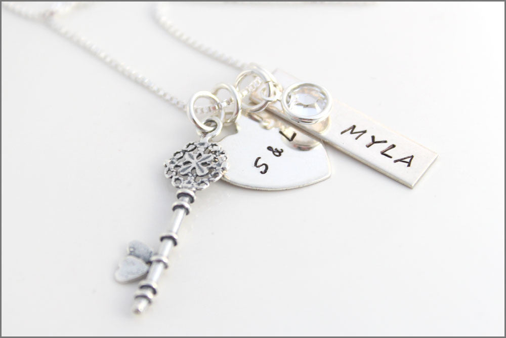 85a87691f Tiffany Heart with Initials and 1 Name Tag with Sterling Silver Key Charm |  Personalized Mom Jewelry