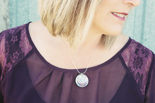 Personalized Grandma Jewelry | Sterling Silver & Copper Stacked Necklace with Tree of Life