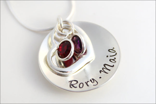 Personalized Name Necklace in Sterling Silver with Open Heart Charm and Swarovski Crystal Birthstones | Hand Made Jewelry