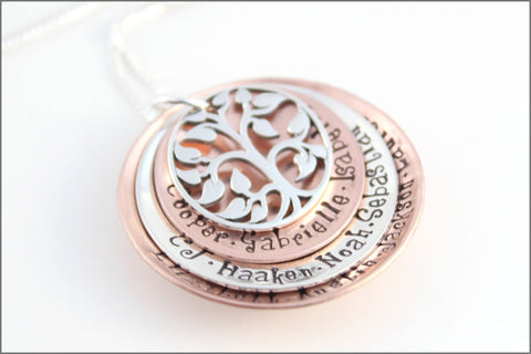 Personalized Grandma Necklace | Christmas Gifts for Grandma, Sterling Silver & Copper Necklace, Tree of Life Charm, Christmas Gift for Her