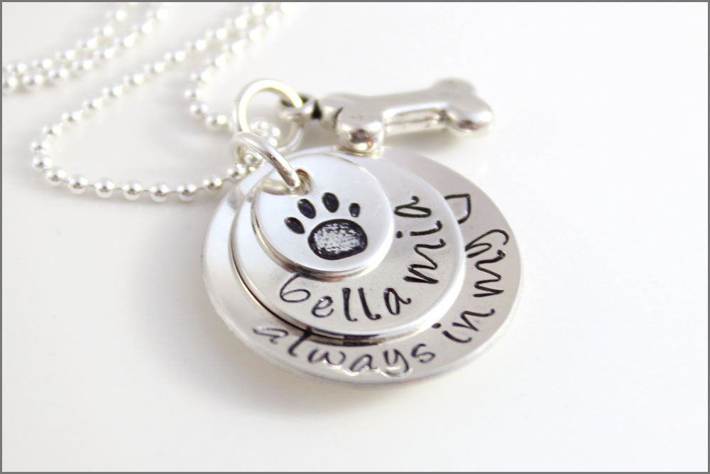 Stacked Pet Lover's Necklace | Custom Pet Name Necklace, Sterling Silver Dog Bone Charm, Personalized Pet Remembrance Jewelry