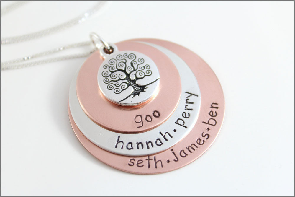 Custom Names Necklace | Sterling Silver & Copper Jewelry, Personalized Grandma Necklace, Tree of Life Necklace, Stacked Name Necklace