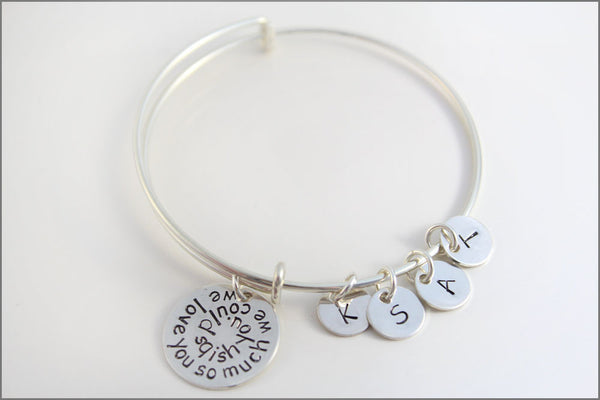 Personalized Bangle Bracelet in Sterling Silver with 4 Initial Charms | We Love You So Much We Could Squish You