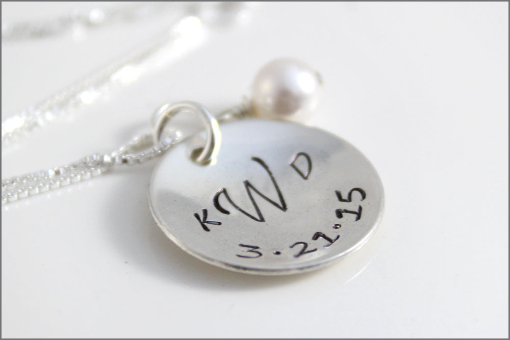 Custom Monogram Necklace | Sterling Silver Wedding Date Necklace, Personalized Bridal Jewelry, Unique Gifts for Bride