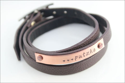 Personalized Last Name Leather Bracelet with Hearts | Copper Wedding Bracelet