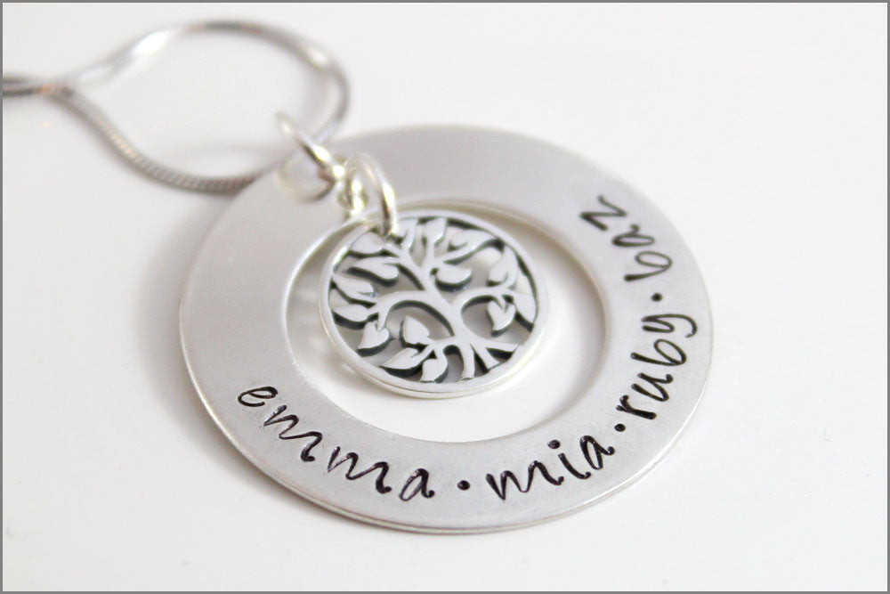Personalized Family Tree Necklace | Sterling Silver Tree of Life, Custom Grandma Necklace, Personalized Name Necklace, Gifts for Her