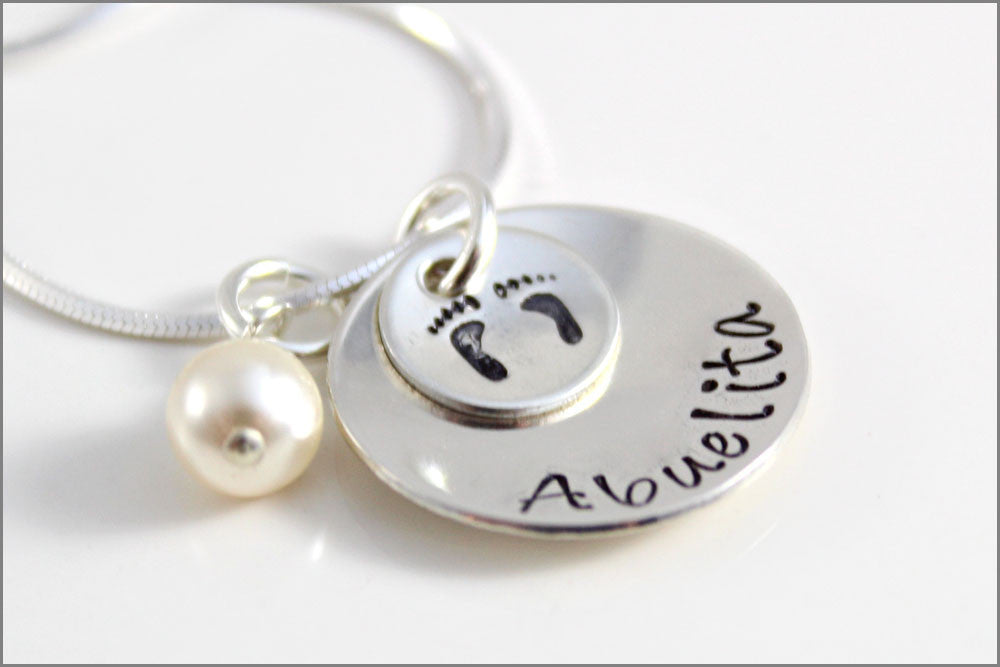 Custom Sterling Silver Abuelita Necklace with Baby Feet | Gift for Abuelita, Nana, Mima, Yaya, or Grandma