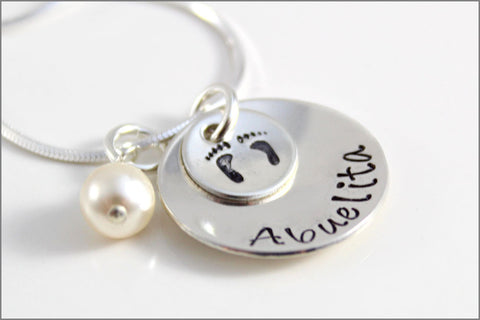 Custom Abuelita Jewelry in Sterling Silver with Baby Feet & Pearl | Unique Sterling Silver Hand Stamped Jewelry for Abuelita Nana Mima