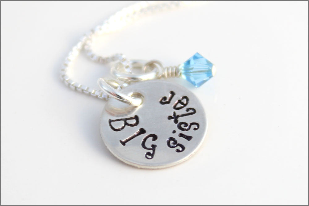 Big Sister Necklace | Small Girls Jewelry, Gift for Big Sister, Silver Girl Necklace, Sterling Silver Big Sister Necklace, Birthstone Charm