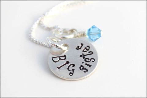 Big Sister Necklace with Birthstone | Sterling Silver Hand Stamped Girls Jewelry