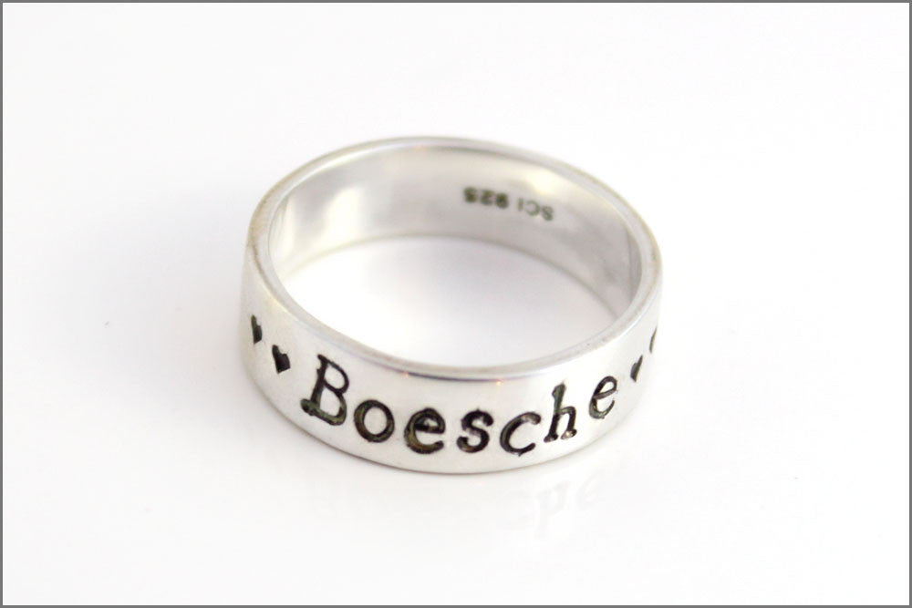 Personalized Sterling Silver Ring with Names, Dates, Quotes | Last Name Sterling Silver Jewelry