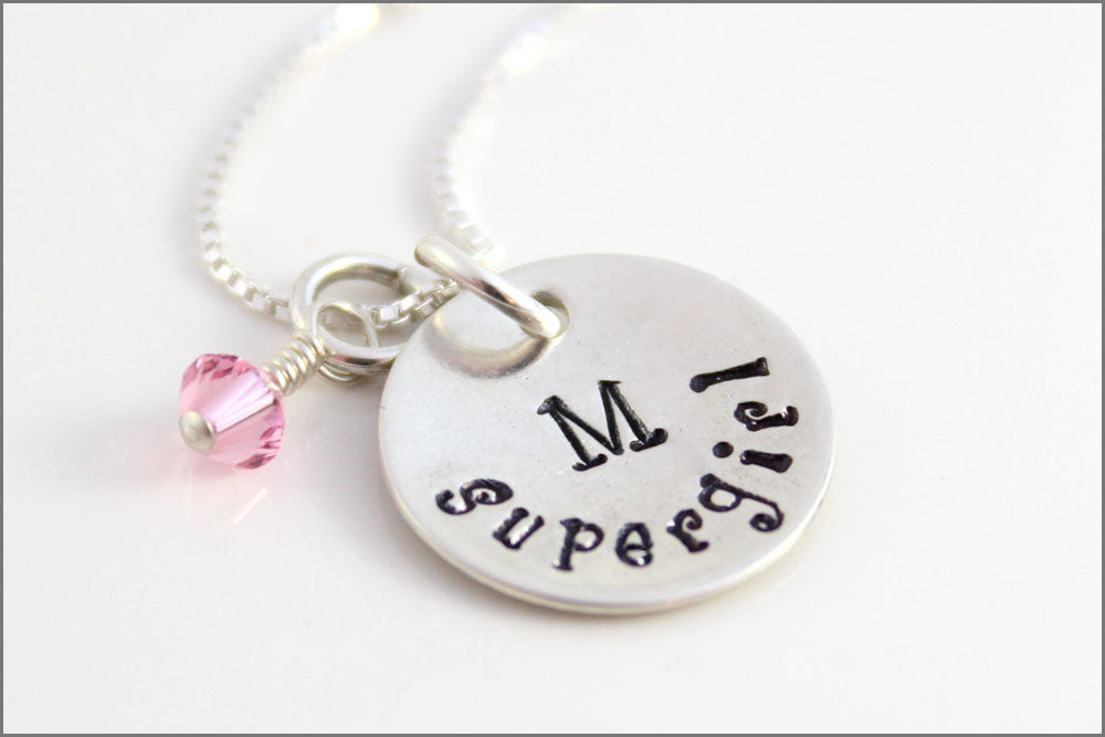 Little Girl Supergirl Necklace | Initial & Birthstone Necklace, Sterling Silver Hand Stamped Girls Jewelry