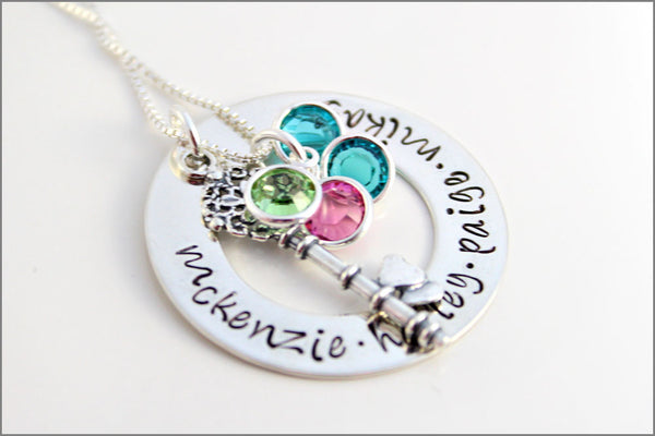 Personalized Washer Necklace with Key Charm 5 Names & 5 birthstones | Hand Stamped Mommy Jewelry