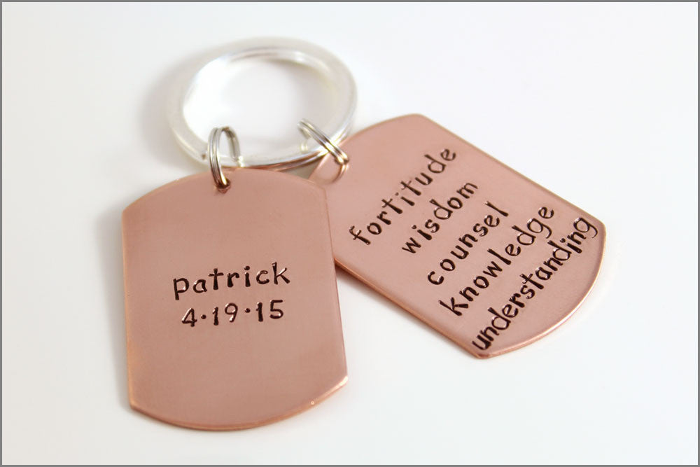 Double Dog Tag Keychain in Copper | Personalized Gift for Young Man | Hand Stamped Accessories