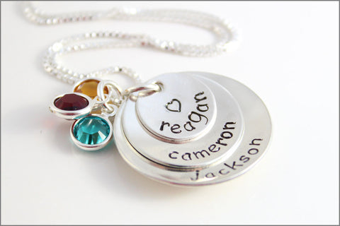 3 Name Stacked Mommy Necklace with Birthstones | Personalized Hand Stamped Mom Necklace