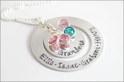 Mother's Day Gift for Grandma | Personalized Washer Necklace, Custom Grandma Necklace, Gift for Grandma, Personalized Name Necklace