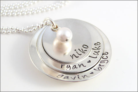 3 Stacked Grandma Necklace with Pearl | Sterling Silver Personalized Grandma Necklace | Hand Stamped Jewelry