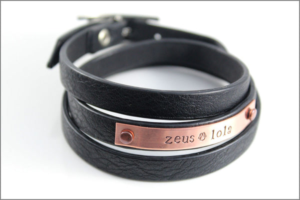 Custom Pet Name Bracelet - Leather Wrap Bracelet - Your Color Choice - Hand Stamped Jewelry - Your words here