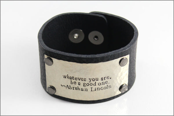 Custom Men's Thick Leather Cuff Bracelet with Custom Quote | Hand Made Rugged Men's Accessory