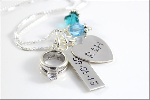 Wedding Date Necklace with Engagement Ring Charm | Personalized Hand Stamped Wedding Jewelry