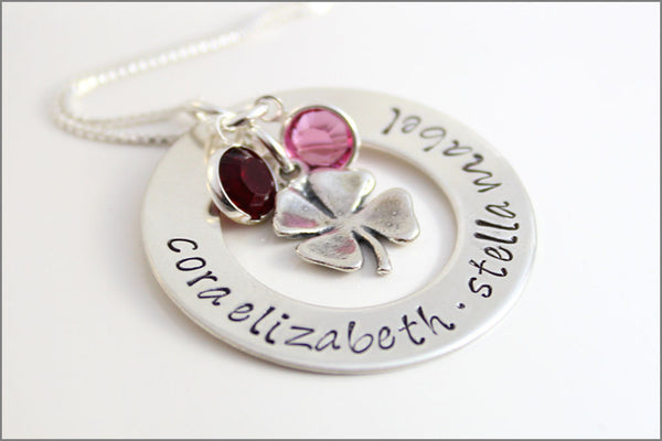 Feeling Lucky Washer Necklace | Personalized with 5 Names & Round Birthstones | Sterling Silver Four Leaf Clover Charm