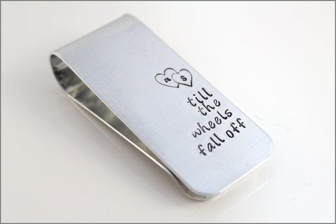 Couples Initials Anniversary Gift | Personalized Aluminum Money Clip, Custom Men's Accessories, Till the Wheels Fall Off, Gifts for Husband