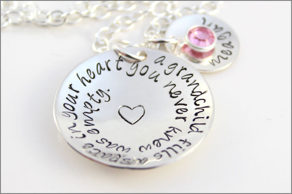 Custom Silver Grandma Necklace | Grandchildren Fill Your Heart Necklace