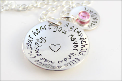 Custom Sterling Silver Grandchild Necklace | Grandchildren Fill Your Heart | 1 Name & Birthstone | Hand Stamped Grandma Jewelry