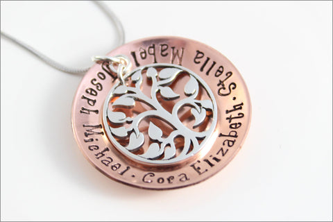 Custom Grandma Necklace with Silver Tree of Life Charm | Copper & Sterling Silver Hand Stamped Jewelry