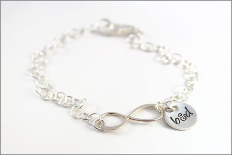 Personalized Couples Infinity Bracelet with Initials | Sterling Silver Anniversary Jewelry