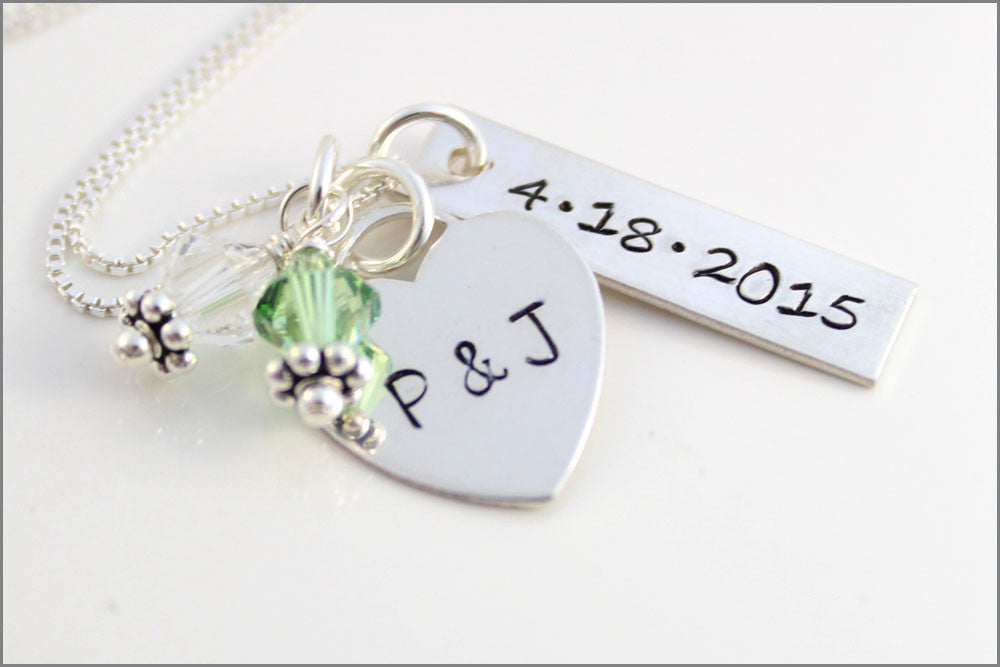 Custom Wedding Date and Couples Initials Necklace | Wedding Colors Jewelry, Sterling Silver Personalized Bridal Bouquet Charms