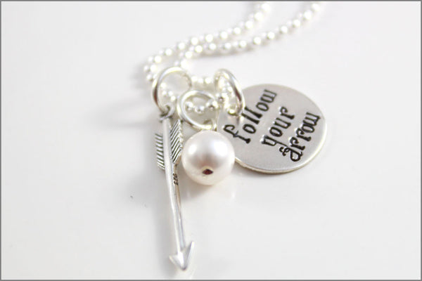 Personalized Graduation Necklace with Pearl and Arrow Charm in Sterling Silver | Follow Your Arrow Necklace