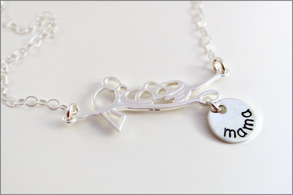 Mama Bird Necklace with Name Charm - Sterling Silver Mom Necklace - Bird's Nest Charm - Hand Stamped Jewelry