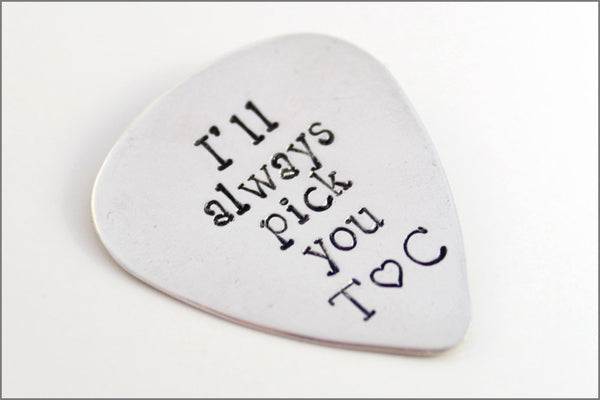 I'll Always Pick You Guitar Pick | Sterling Silver Personalized Pick | Music Guitar | Couples Initials