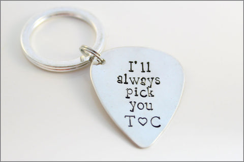 Personalized Guitar Pick with Initials | Guitar Pick Key Chain, I'll Always Pick You, Couples Initials, Valentine's Day Gift