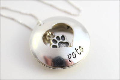 Custom Sterling Silver Pet Name Necklace | Always in My Heart Pet Locket