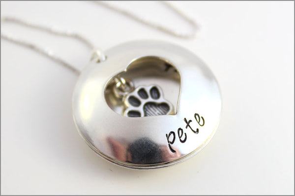 Custom Pet Name Necklace | Always in My Heart Pet Locket, Sterling Silver Dog Necklace, Pet Remembrance Necklace, Gifts for Pet Lover