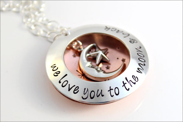 Custom Silver & Copper Locket | Hand Stamped Name Locket, Love You to the Moon and Back, Personalized Gift for Mom